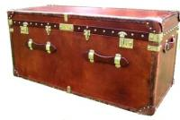 Brown Leather End of Bed Trunk