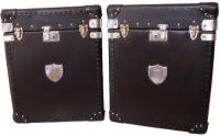 Pair of Black Leather Trunks with Shields