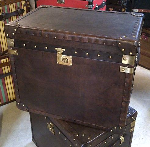 Super medium size 60cm brown leather trunks